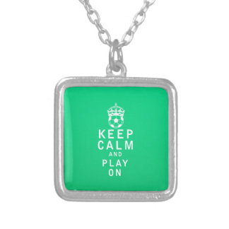 Keep Calm and Play On Square Pendant Necklace