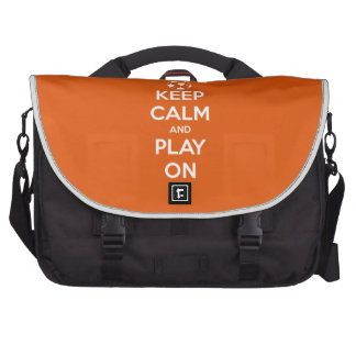 Keep Calm and Play On Orange and White Laptop Shoulder Bag