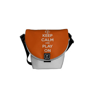 Keep Calm and Play On Orange and White Messenger Bags