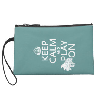 Keep Calm and Play On (Piano)(any background color Suede Wristlet