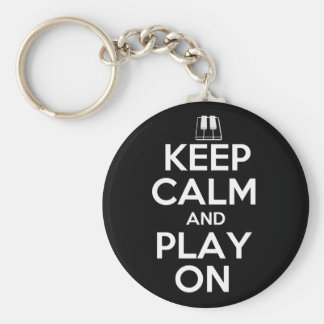 Keep Calm and Play On Piano Basic Round Button Key Ring