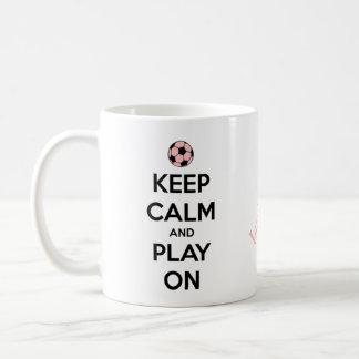 Keep Calm and Play On Pink and Black Basic White Mug