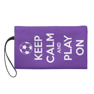 Keep Calm and Play On Purple Wristlet Clutch