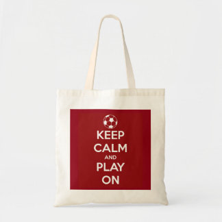 Keep Calm and Play On Red Budget Tote Bag