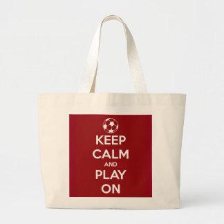 Keep Calm and Play On Red Jumbo Tote Bag