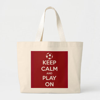 Keep Calm and Play On Red Tote Bags