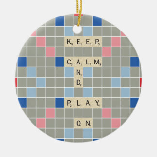 Keep Calm And Play On Round Ceramic Decoration