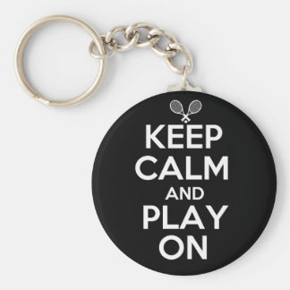 Keep Calm and Play On Tennis Basic Round Button Key Ring