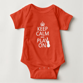 Keep Calm and Play On (violin)(any color) Baby Bodysuit