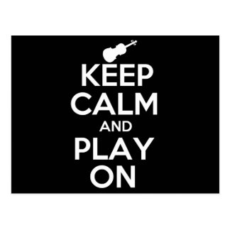 Keep Calm and Play On Violin Postcard
