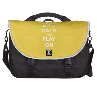 Keep Calm and Play On Yellow Laptop Computer Bag