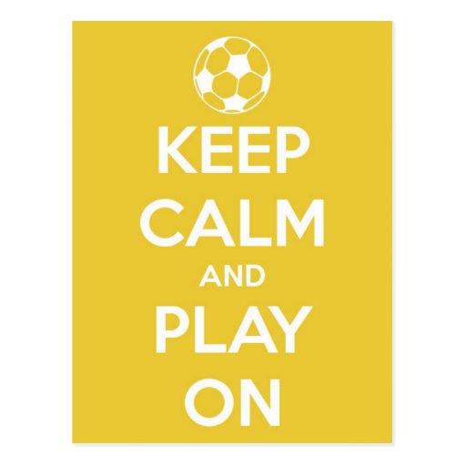 Keep Calm and Play On Yellow Postcard