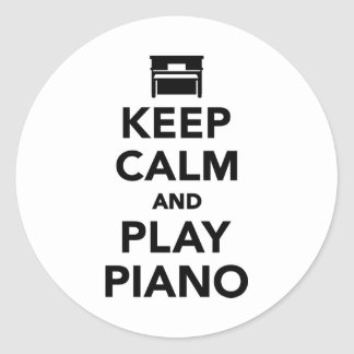 Keep calm and Play Piano Round Stickers