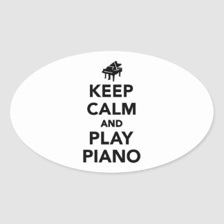 Keep calm and play piano oval sticker