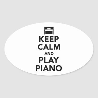 Keep calm and Play Piano Oval Stickers
