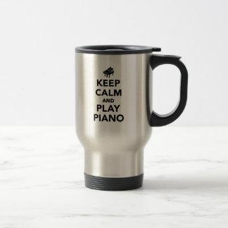 Keep calm and play piano travel mug