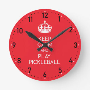Keep calm and play pickleball (white) round clock