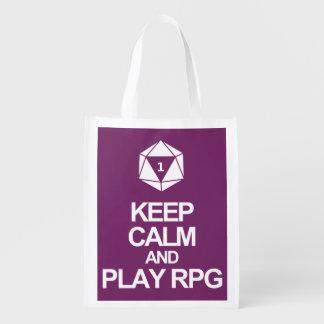Keep Calm and Play RPG Reusable Grocery Bag