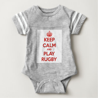 Keep Calm And Play Rugby Baby Bodysuit