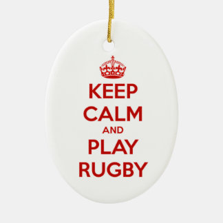 Keep Calm And Play Rugby Ceramic Oval Decoration
