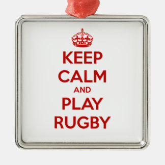 Keep Calm And Play Rugby Silver-Colored Square Decoration