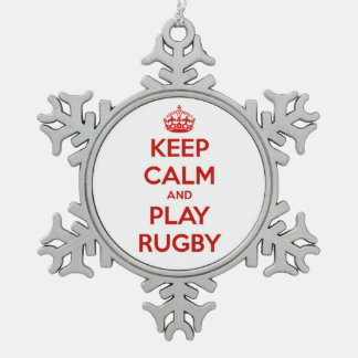 Keep Calm And Play Rugby Snowflake Pewter Christmas Ornament