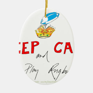keep calm and play rugby, tony fernandes ceramic oval decoration