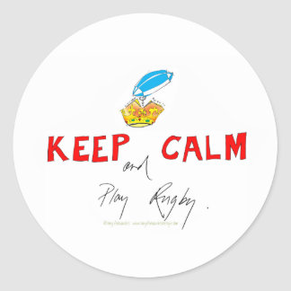 keep calm and play rugby, tony fernandes round sticker