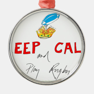keep calm and play rugby, tony fernandes Silver-Colored round decoration