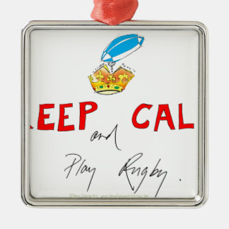 keep calm and play rugby, tony fernandes Silver-Colored square decoration