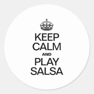KEEP CALM AND PLAY SALSA ROUND STICKER