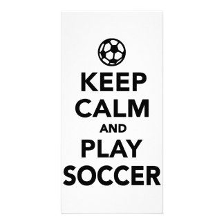 Keep calm and play Soccer Photo Card Template