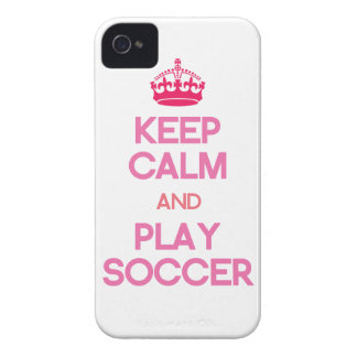 Keep Calm And Play Soccer (Pink) iPhone 4 Cover