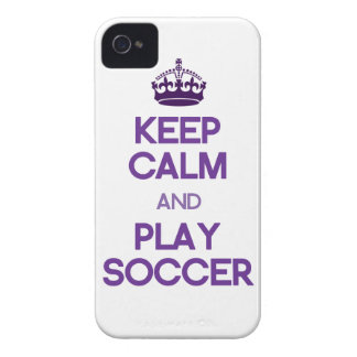 Keep Calm And Play Soccer (Purple) iPhone 4 Case-Mate Cases