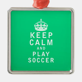 Keep Calm and Play Soccer Silver-Colored Square Decoration