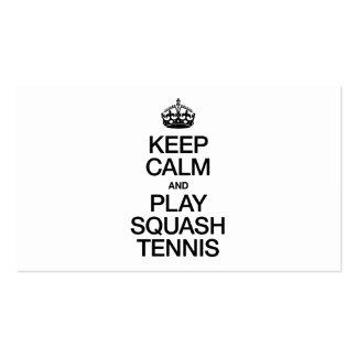 KEEP CALM AND PLAY SQUASH TENNIS BUSINESS CARD