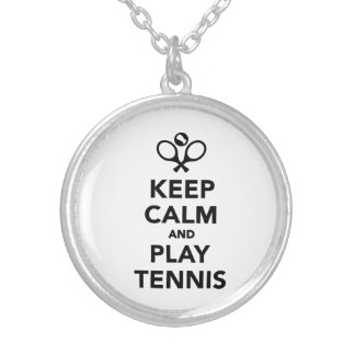 Keep calm and play Tennis Silver Plated Necklace