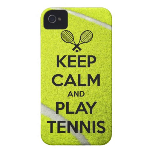Keep calm and play tennis sport ball racket sports Case-Mate iPhone 4 cases
