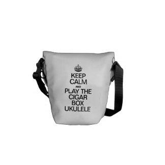KEEP CALM AND PLAY THE CIGAR BOX UKULELE MESSENGER BAG