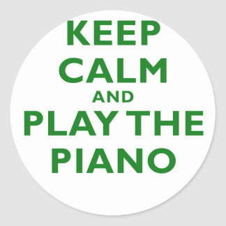 Keep Calm and Play the Piano Classic Round Sticker