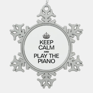 KEEP CALM AND PLAY THE PIANO PEWTER SNOWFLAKE DECORATION