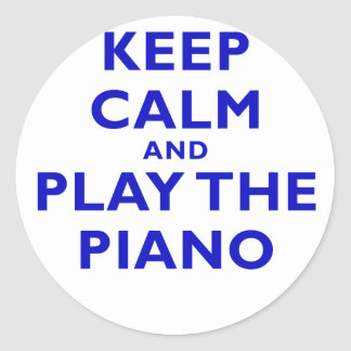 Keep Calm and Play the Piano Round Sticker