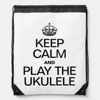 KEEP CALM AND PLAY THE UKULELE DRAWSTRING BAG