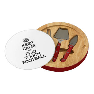 KEEP CALM AND PLAY TOUCH FOOTBALL ROUND CHEESEBOARD