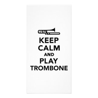Keep calm and Play Trombone Photo Greeting Card