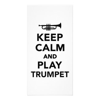 Keep calm and Play trumpet Photo Cards