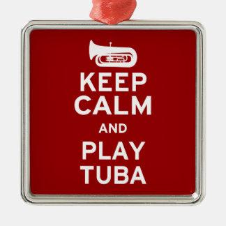 Keep Calm and Play Tuba Christmas Ornament