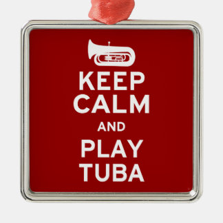 Keep Calm and Play Tuba Silver-Colored Square Decoration