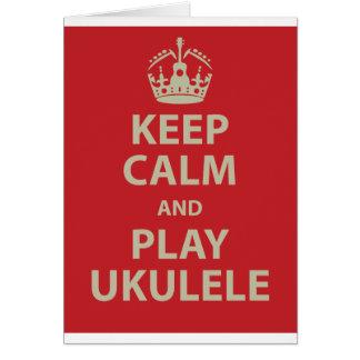 Keep Calm and Play Ukulele Greeting Card