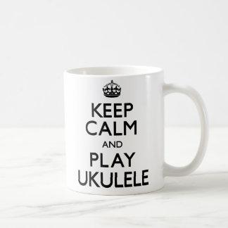 Keep Calm and Play Ukulele (Carry On) Basic White Mug